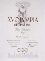 1952 Helsinki Olympic Diploma