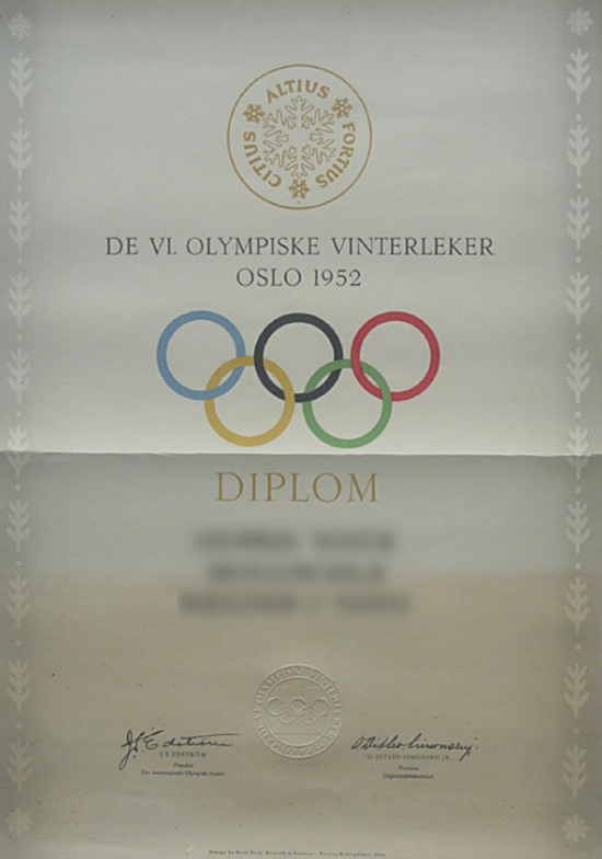1952 Oslo Olympic Diploma