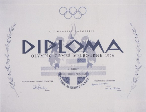 1956 Melbourne Olympic Diploma