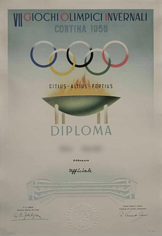 1956 Cortina Olympic Diploma