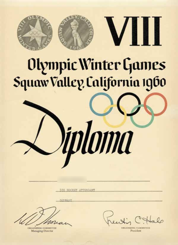 1960 Squaw Valley Olympic Diploma