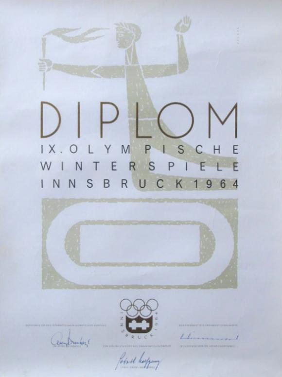 1964 Innsbruck Olympic Diploma