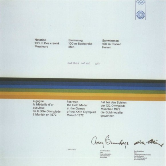 1972 Munich Olympic Diploma