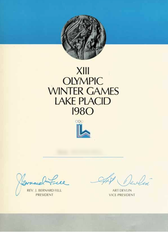 1980 Lake Placid Olympic Diploma