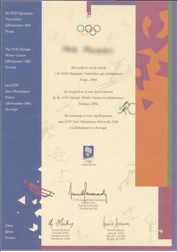 1994 Lillehammer Olympic Diploma